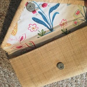 Pomegranate, Inc. Straw Clutch with Floral Lining